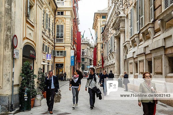 Via Garibaldi street in the old city  Genoa  Liguaria  Italy.