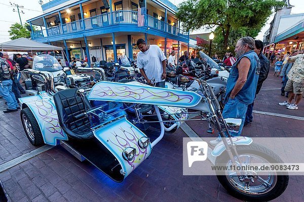 Motorcycles and Sidecars  Old Town Kissimmee  Florida  USA.