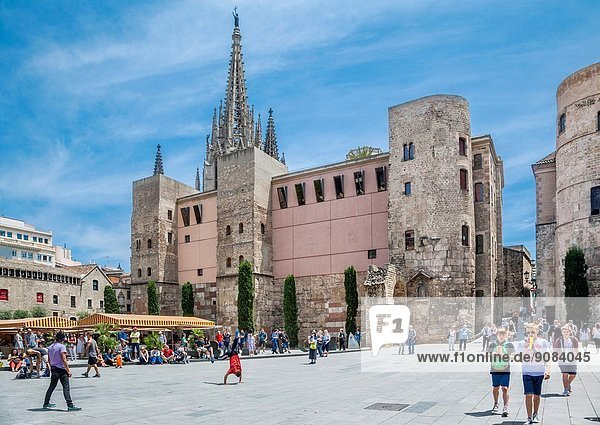 Spain  Catalonia  Barcelona  Barri Gòtic  view Plaça Nova with Barcelona Cathedral  the Romanesque towers and the Portal del Bisbe  which was once the principal gateway in Roman Barcelona's city walls.