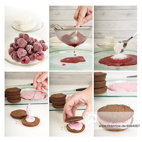 Collage von sechs Fotografien der Zubereitung von Whoopie-Pasteten Collage von sechs Fotografien der Zubereitung von Whoopie-Pasteten