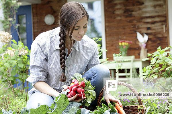 Junge Frau mit Radieschen im Gemüsegarten