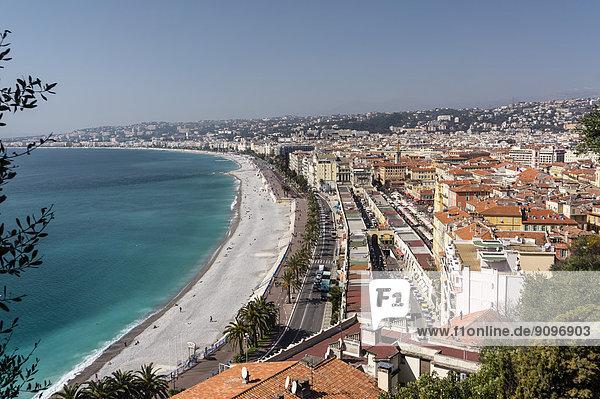 Beach and Mediterranean Sea  Nice  France