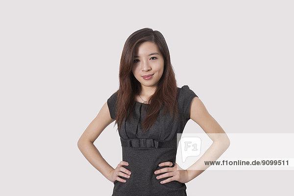 Portrait  Geschäftsfrau  Schönheit  über  weiß  Hintergrund  jung