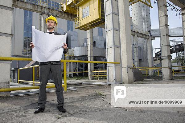 Außenaufnahme  Industrie  Architekt  Blaupause  jung  Länge  voll