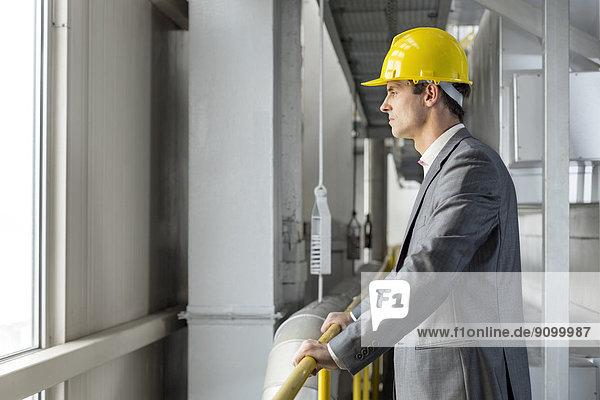 stehend  Industrie  Architekt  Ansicht  Geländer  Seitenansicht  Nachdenklichkeit
