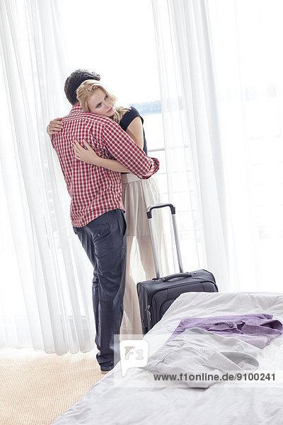 Liebe, umarmen, Zimmer, Hotel, jung