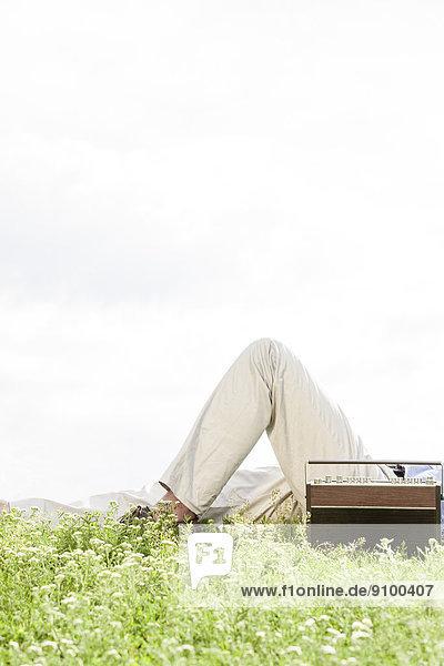 liegend  liegen  liegt  liegendes  liegender  liegende  daliegen  durchsichtig  transparent  transparente  transparentes  Mann  Mittlerer Ausschnitt  Himmel  Retro  Gras