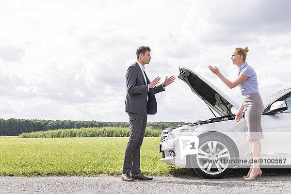 Konflikt  Ländliches Motiv  ländliche Motive  Auto  über  Ansicht  Länge  Seitenansicht  zerbrochen  Business  voll