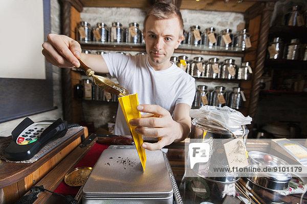 Papier  Tasche  schöpfen  Laden  Verkäufer  Zutat  Tee