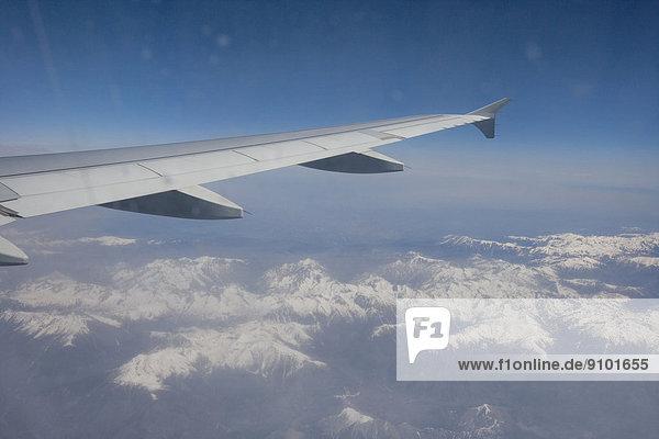 Flugzeug  Frankreich  bedecken  Alpen  Ansicht  Fernsehantenne  Schnee