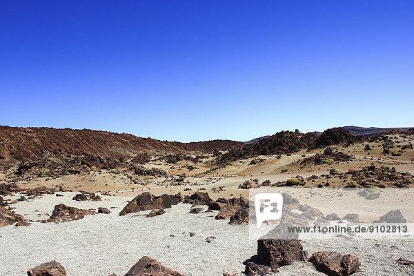 Vulkanlandschaft  Hochebene Llano de Ucanca  UNESCO Weltnaturerbe Parque Nacional de las Cañadas del Teide  Teide-Nationalpark  Teneriffa  Kanarische Inseln  Spanien