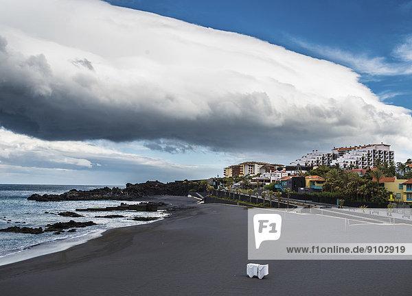 Black sandy beach  Playa de los Cancajos beach  La Palma  Canary Islands  Spain