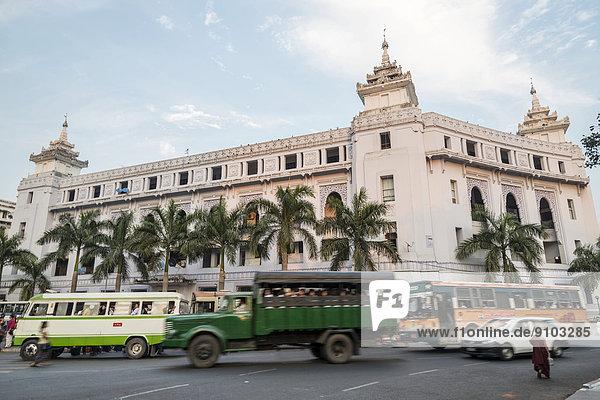 Town Hall  traffic on a road  Yangon or Rangoon  Yangon Region  Myanmar
