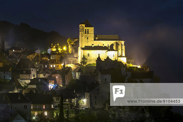 Townscape at night  Saint-Cirq-Lapopie  Lot Department  Midi-Pyrénées  France