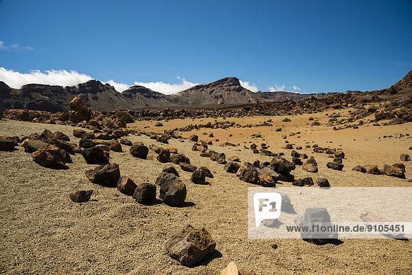Vulkanlandschaft  Hochebene  UNESCO Weltnaturerbe Parque Nacional de las Cañadas del Teide  Teide-Nationalpark  Teneriffa  Kanarische Inseln  Spanien