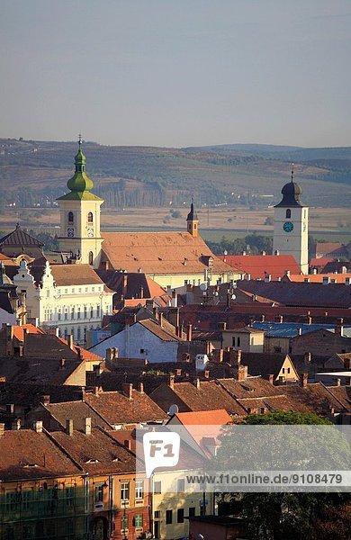 Romania  Sibiu  skyline  aerial view