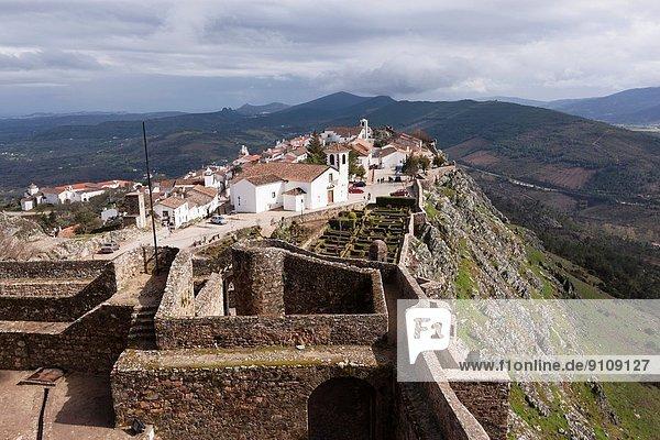 View of Portuguese village of Marvão from castle  Alentejo Region  Portugal