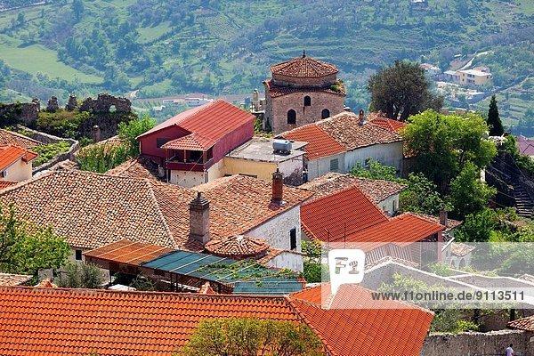 Albania  Kruja  elevated town view.