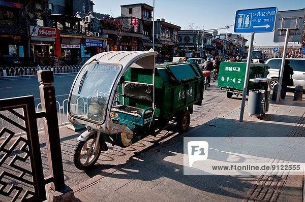 Straße Lastkraftwagen Abfall Peking Hauptstadt China Rikscha