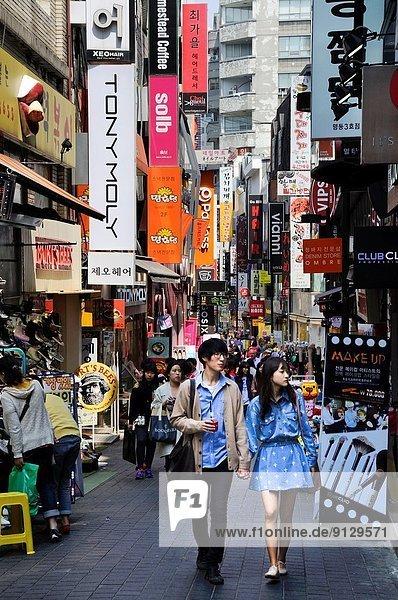 Seoul  Hauptstadt  Einkaufszentrum  Straße  Großstadt  kaufen  Ortsteil  Südkorea