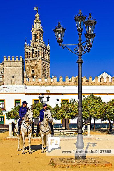 Europa Großstadt Turm reiten - Pferd Sevilla Polizei Glocke Innenhof Hof Ortsteil Minarett Spanien