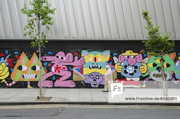Street Art  in der Nähe von Brick Lane  Shoreditch  East London  England