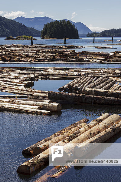 Log booms float offshore at the Kendrick Arm log dump on the west coast of British Columbia  Canada.