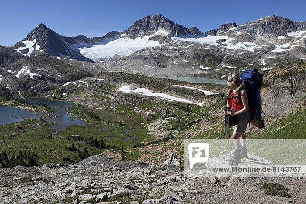hoch  oben  See  Ländliches Motiv  ländliche Motive  Rocky Mountains  British Columbia  Kanada  Kalkstein  Russell