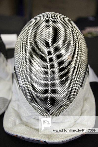 Fechten Gesichtsmaske.Olympischen Oval Richmond  British Columbia  Kanada Fotograf Frank Pali