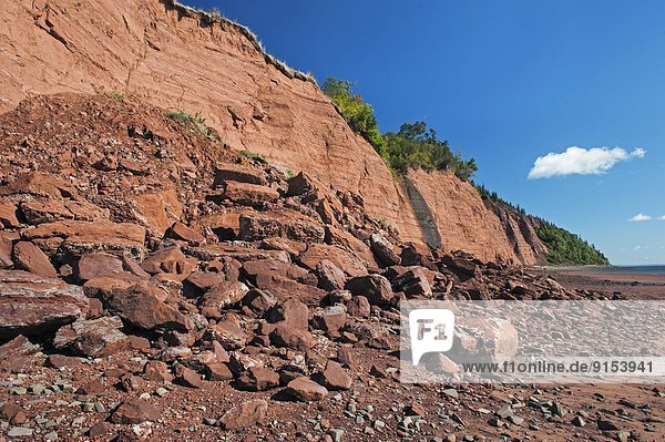 Triassic sedimentary cliffs at Blomidon Provincial Park face constant erosion from Bay of Fundy tides. Minas Basin  Nova Scotia.