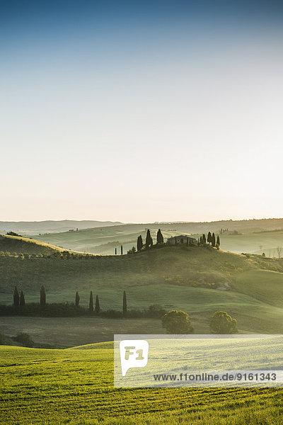 Baum Landschaft Hügel Bauernhof Hof Höfe Morgendämmerung UNESCO-Welterbe Italien Toskana Val d'Orcia Morgenlicht Provinz Siena