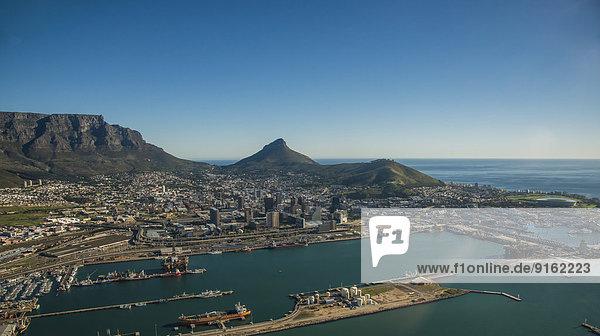Südliches Afrika Südafrika Hafen Berg Luftbild Tisch Kapstadt Western Cape Westkap