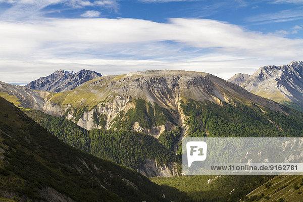 Munt la Schera  Ausblick vom Val dal Botsch  Schweizer Nationalpark  Graubünden  Schweiz