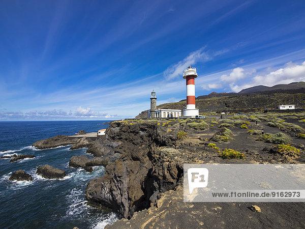 Alter und neuer Leuchtturm am Faro de Fuencaliente  Los Quemados  Südküste  La Palma  Kanarische Inseln  Spanien