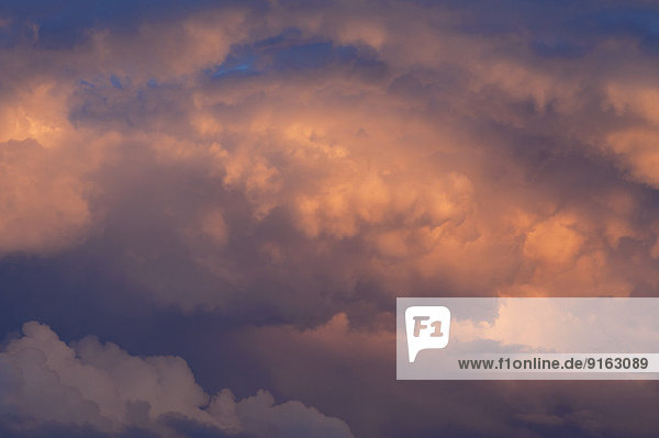 Unwetterwolken im Abendlicht  Bayern  Deutschland