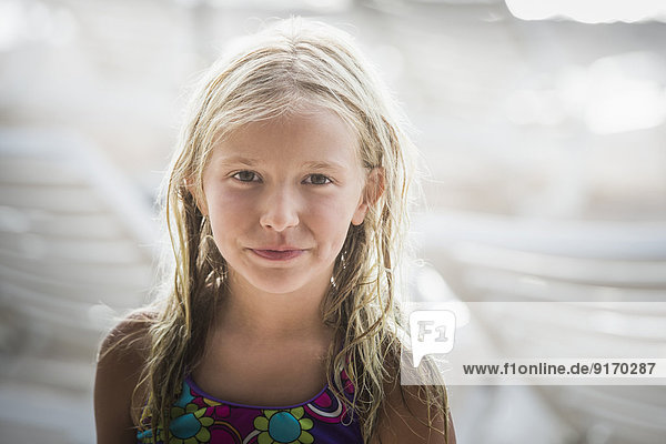 Caucasian girl smiling outdoors Caucasian girl smiling outdoors