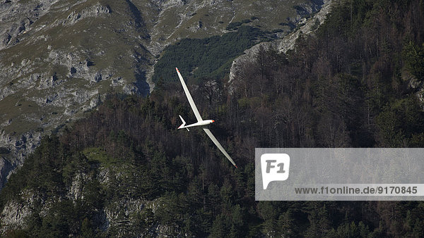 Austria  Salzburg  glider in front of mountain face in the Alps