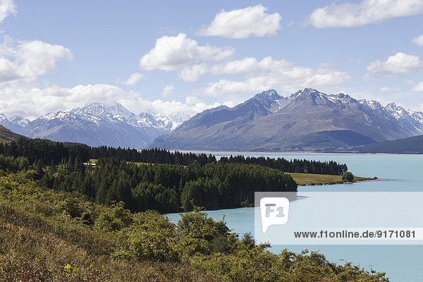 New Zealand  view to Mount Cook National Park with Lake Pukaki