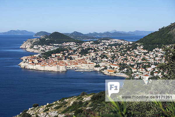 Croatia  Dubrovnik  elevated view to coast line with historic old city