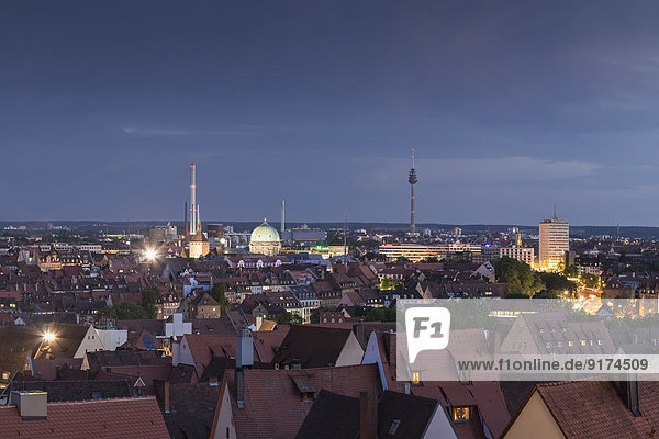 Germany  Bavaria  Nuremberg  Cityscape in the evening