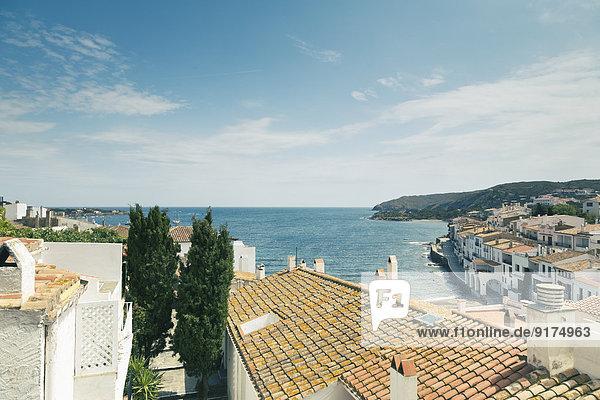 Spanien  Katalonien  Costa Brava  Blick auf das Dorf Cadaques
