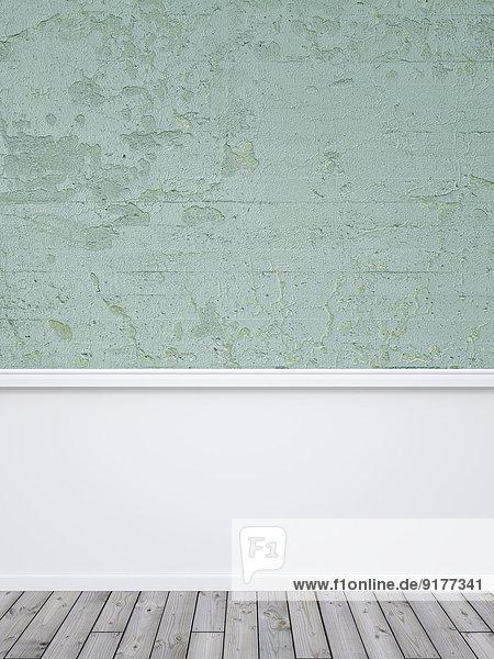 Verputzte Wand  weiße Holzverkleidung und graue Dielen  3D-Rendering