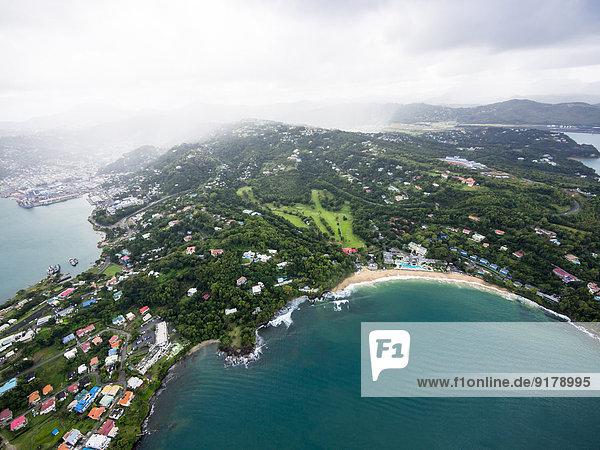 Karibik  St. Lucia  Luftaufnahme von Castries
