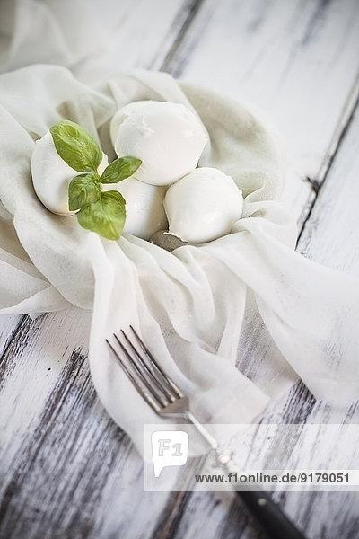Mozzarella mit Basilikumblättern