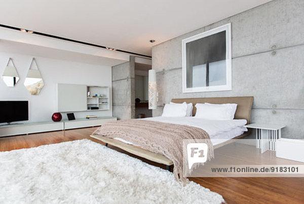 Shag Teppich im modernen Schlafzimmer