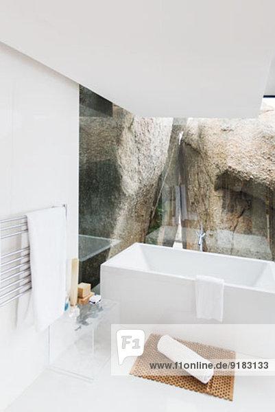 Badewanne und Fels-Feature des modernen Bades