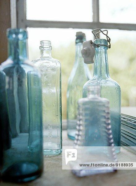 Bottles on windowsill  Sweden