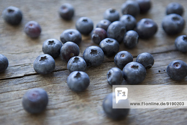 Close-up of blueberries on table