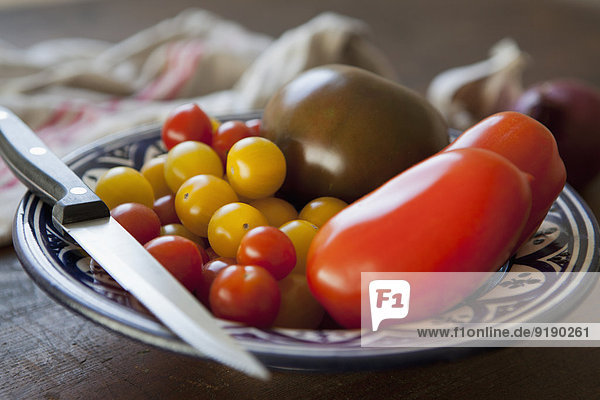 Various tomatoes in plate
