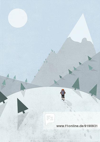 Illustratives Bild der Person Bergsteigen im Winter